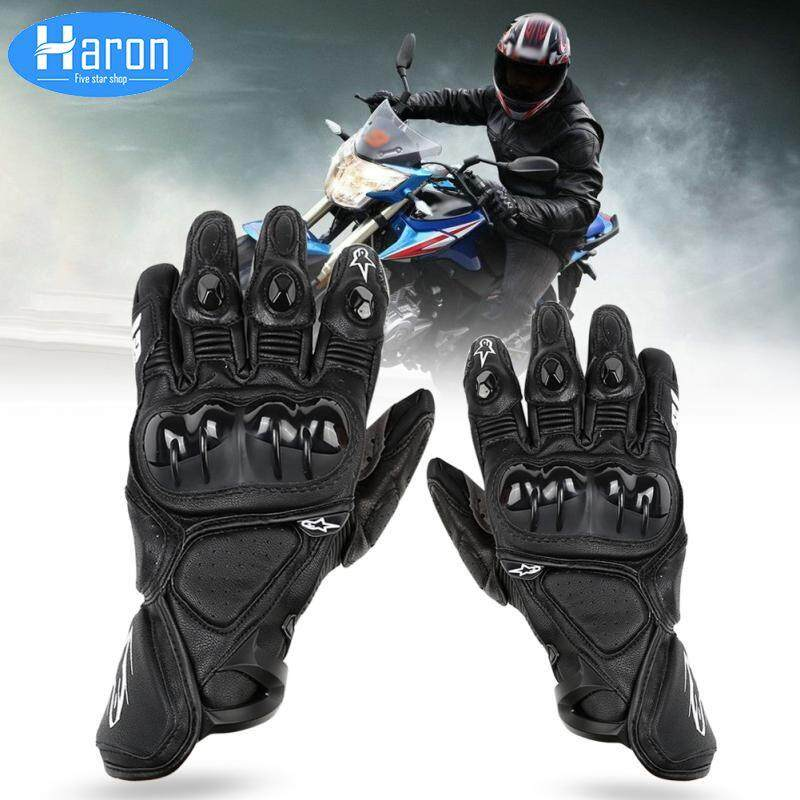 HARON [M-XL]Breathable Leather Motorcycle Gloves Black Leather Motocross Protection Offroad Gloves Men & Women