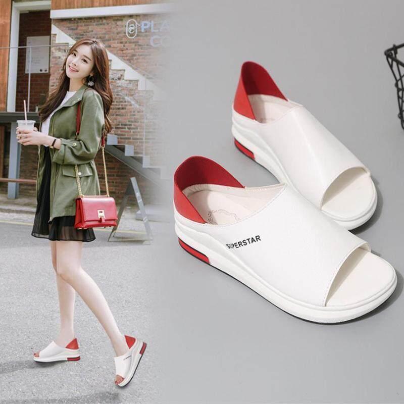 Hai mặc dép nữ mùa hè dày-đế đa năng màu trắng Giày xốp miệng cá phiên bản Hàn Quốc của phẳng -Đáy một chân Giày xăng đan