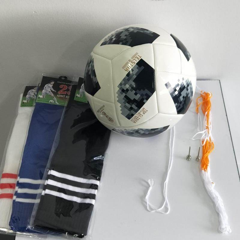 High Quality Footballs Ball Russia 2018 Official Size 5 Football Ball Seamless PU Soccer Ball Competition Training  with A Pair of Ball Socks Two Needles and Net