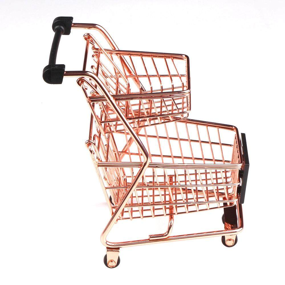 a3ee102f5 Mini Double Layers Shopping Cart Model Wrought Iron Supermarket Trolley  Metal Rose Gold Storage Basket | Lazada PH