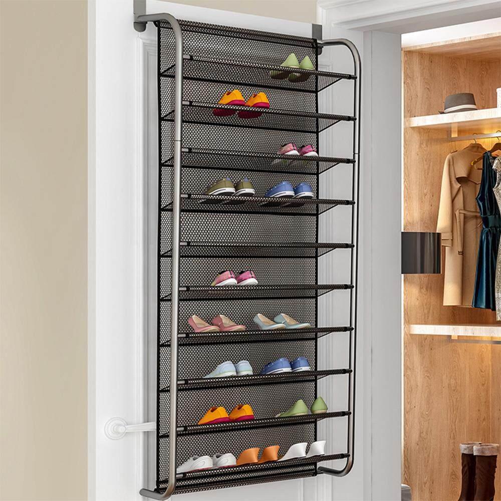 1Pc Solid Color 10 Tier Over Door Hanging Shoe Rack Simple Home Shoe Cabinet