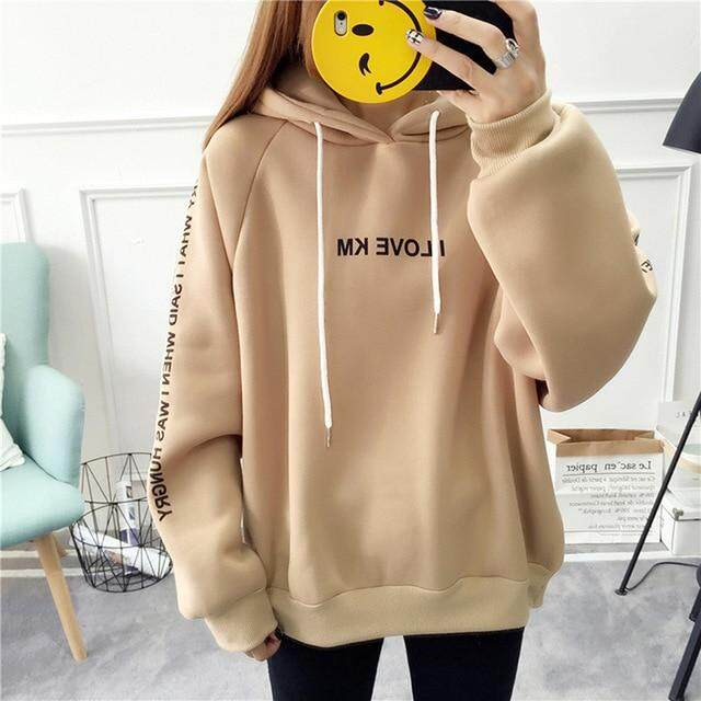 a5259ed7217 Harajuku Letters Printed Casual Hooded Hoodies Pullover Women Autumn Thick  Loose Sweatshirt Female Thicken Coat