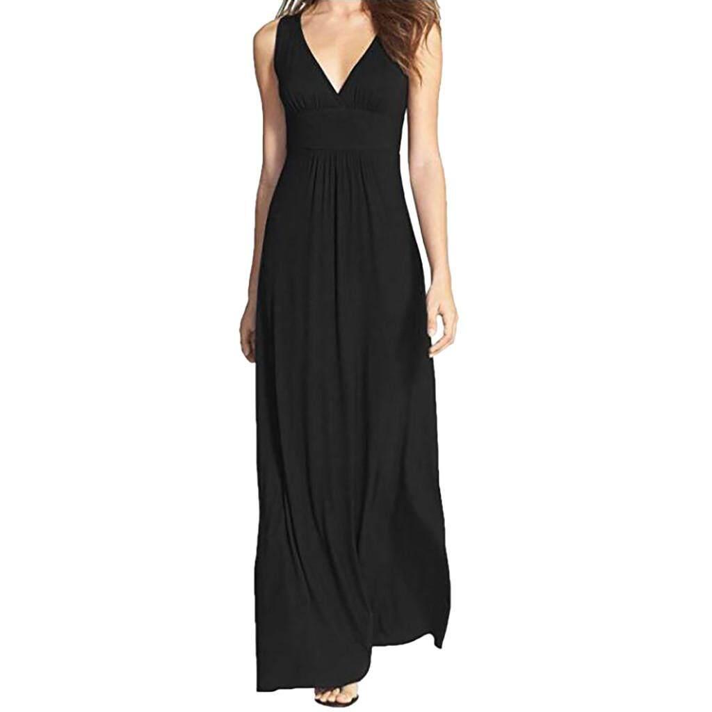 fa4ac220f cocoboy Women Sleeveless Deep V Neck Long Maxi Casual Dress