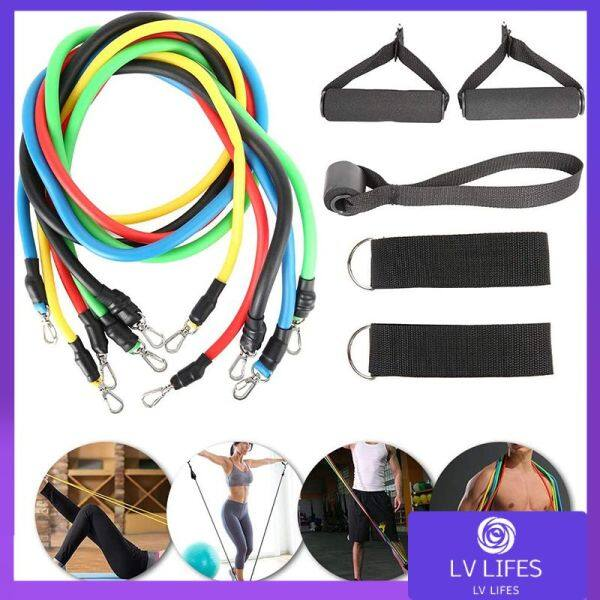 11-Piece Adjustable Resistance Bandstraining Set Equipment Chest Muscle Exercise Elastic Rope Resistance Band Suitable For Family Resistance Training For Women And Men