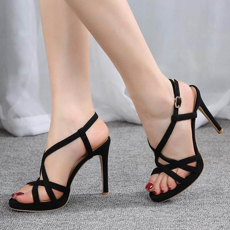 Fashion Sandals, Womens Suede, Fine Heel, Womens Shoes, Open Toes, Buckle, Black Waterproof Platform, Womens Sandals. By Jewshop.