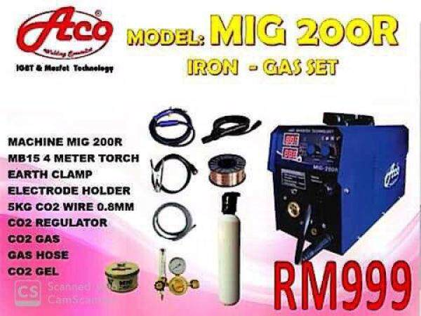 9.9 MIG 200R WELDING MACHINE FULL SET C/W GAS AND ACCESORIES (6 IN 1 WELDING SET)MIGMMATIGARCALUMINIUMSTAINLESS STEEL