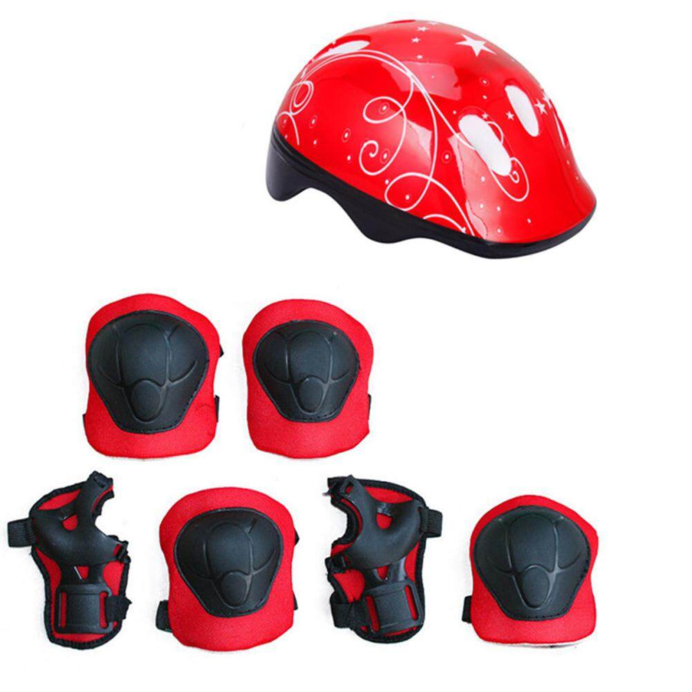 Live_on 7 Pieces Outdoor Sports Protective Gear Set For Kids, Boys Girls Cycling Helmet Safety Knee Elbow Pads Wrist Guards Set For Roller Scooter Skateboard Bicycle