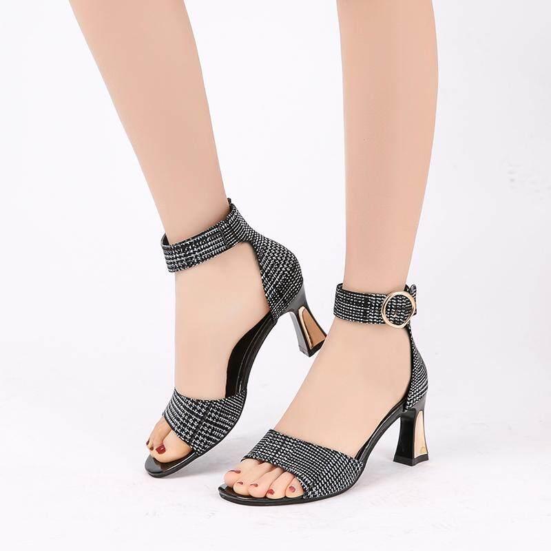 Sandal Hak Tinggi Fashion Wanita Sandal Berjari Terbuka Tali Pergelangan Kaki Pantofel Ikat Gesper Sepatu