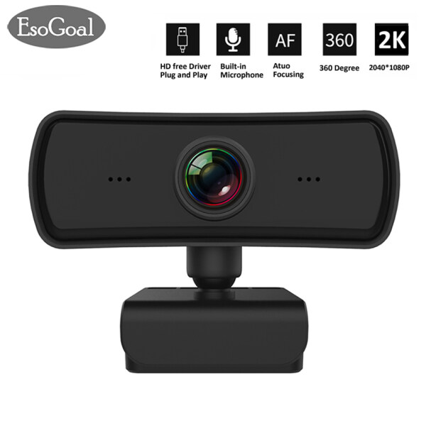 EsoGoal 1080P 2K Webcam HD Web Camera For Computer PC Laptop Video Meeting Class web cam With Microphone 360 Degree Adjust USB Webcam Support Win7/8/10 MAC Android