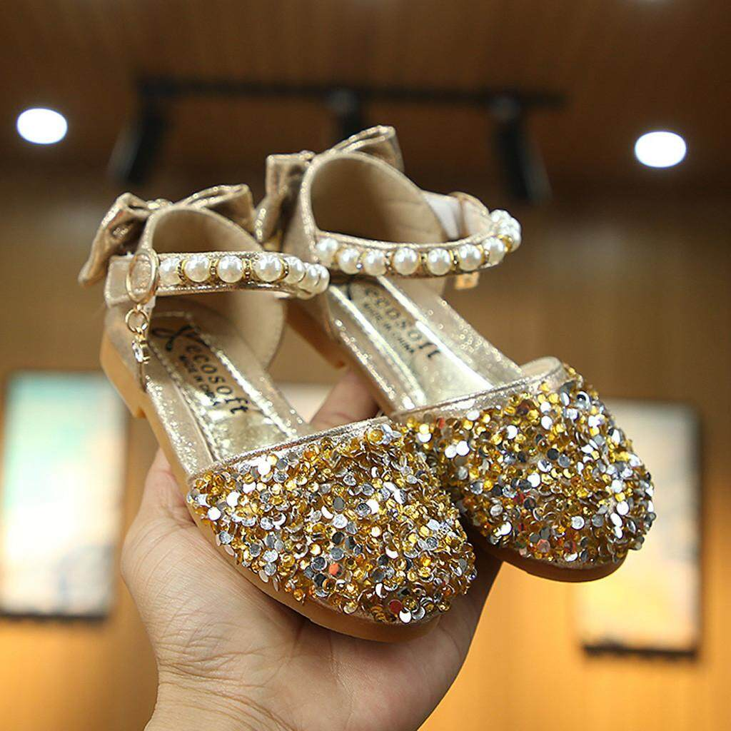 4a30a9010542 viviroom-Toddler Kids Baby Girls Pearls Bling Sequins Bowknot Princess  Shoes Sandals