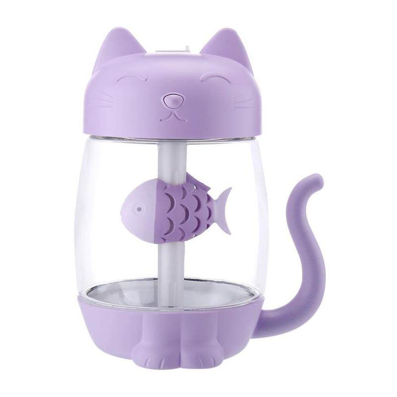 350ml Night Light Fan Ultrasonic Air Humidifier Aroma Diffuser Cat Shape Singapore