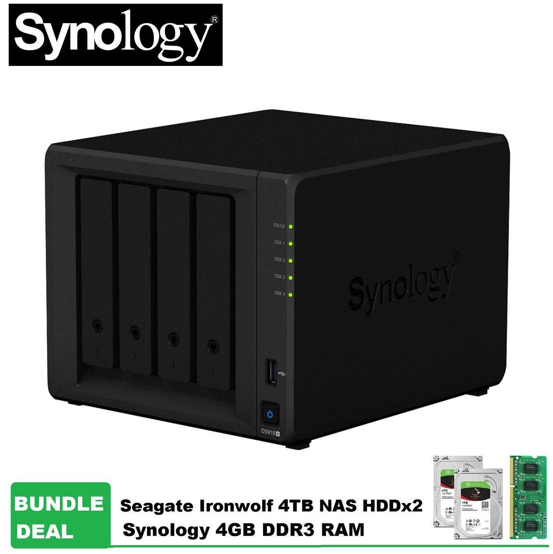 Synology DS918+ DiskStation NAS 4-Bays Bundle Seagate Ironwolf 4TB HDD x  2units+4GB DDR3 RAM (Original Synology Malaysia)