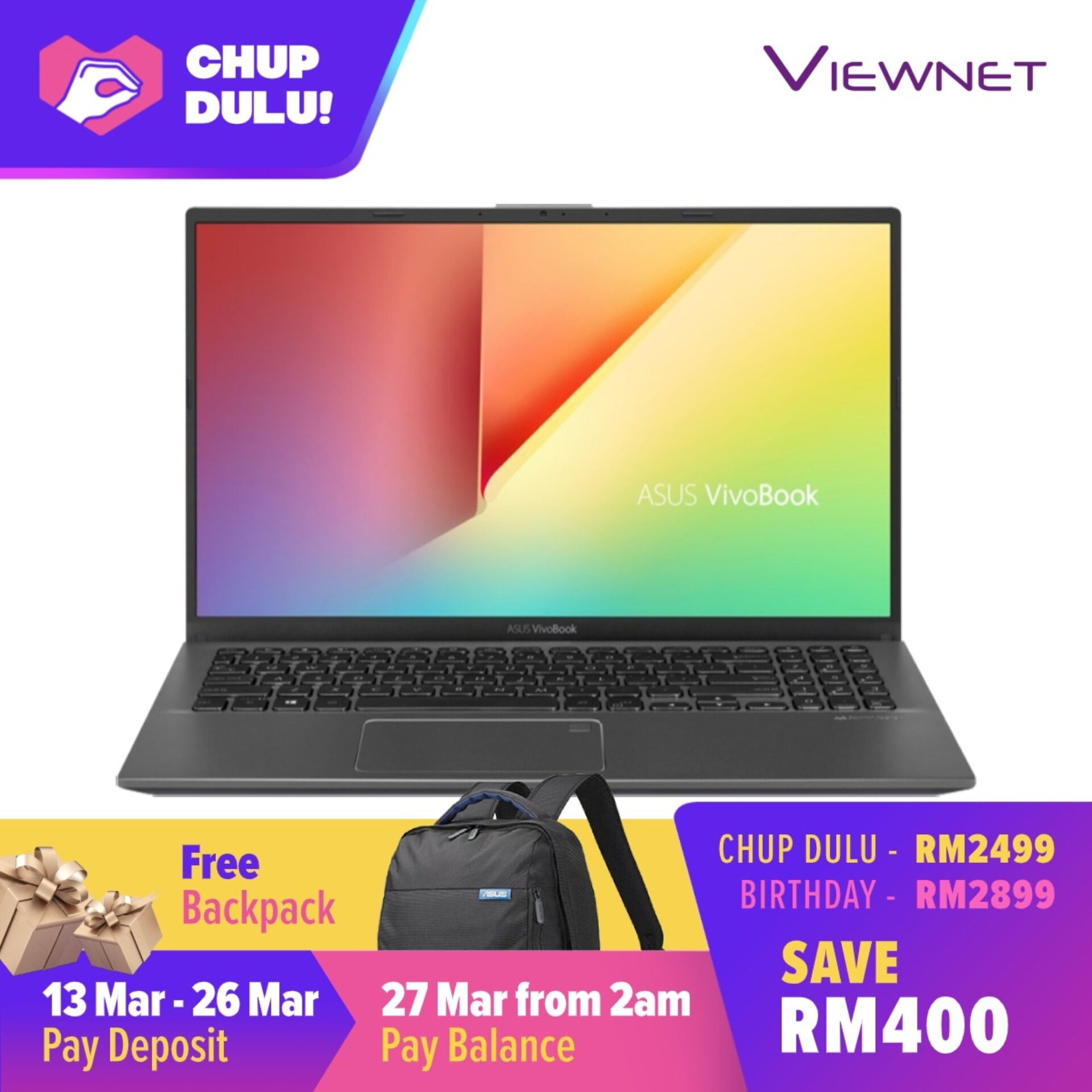 [CHUP DULU] Asus Vivobook 15.6  FHD Gaming Laptop A512F-LBQ587T, Intel Core I5-10210U, 4GB DDR4, 512GB SSD, Nvidia MX250 2GB, Windows 10 Malaysia