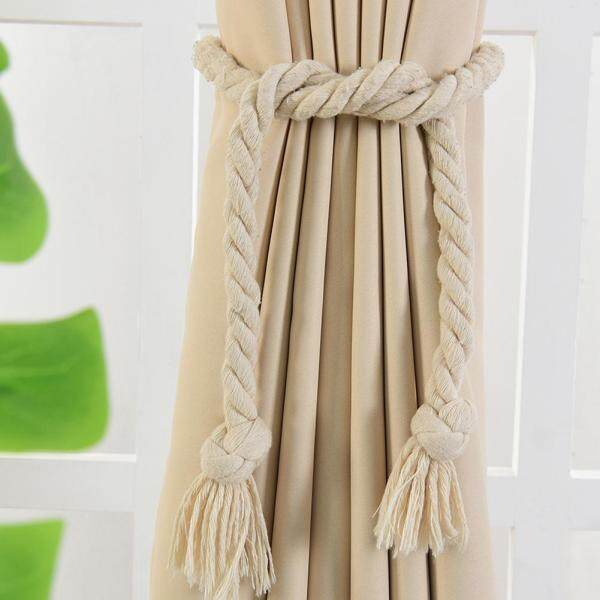 wusi® 2Pcs Handmade Hemp Rope Curtain Drapes Tieback Holdback Holder Line Accessories