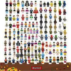 WUHUI 100 CÁI Bộ đồ chơi xây dựng nhân vật nhỏ trong thành phố LeGoIng Đồ chơi khối xây dựng Bạn bè Cảnh sát Nghề nghiệp Ninja Marvel Hình viên gạch xây dựng cho trẻ em mẫu giáo Tuổi từ 3+ Đồ chơi trẻ em Tương thích với tất cả các thương hiệu