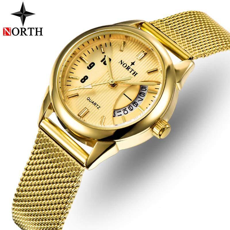 [BDAY SALE] NORTH Women Watches Top Brand Fashion Dress Steel Mesh Strap Quartz Clock Women Casual Waterproof Sport Date Watch Malaysia