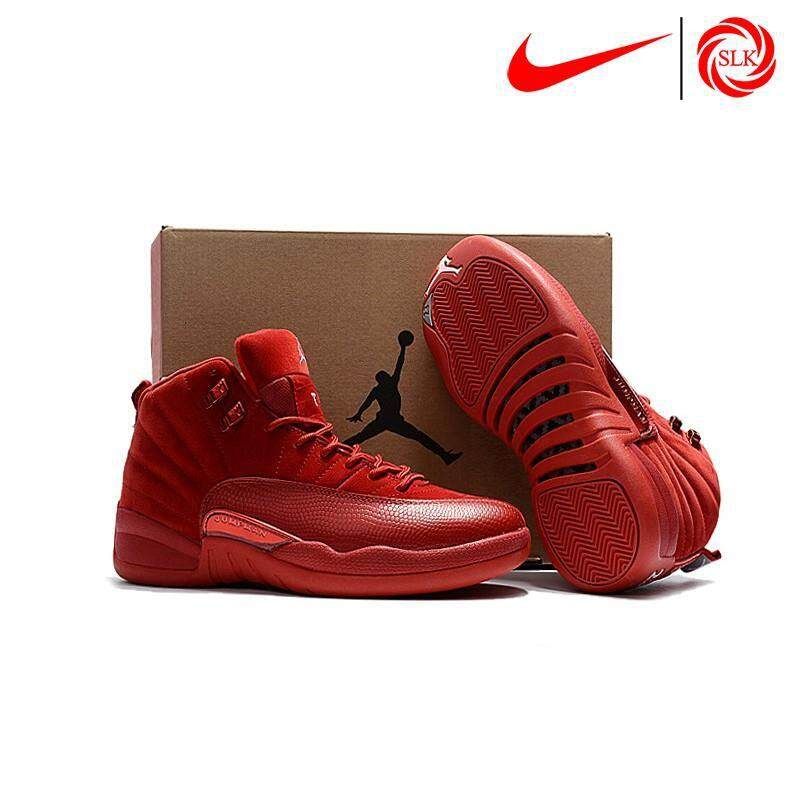 SLK★ Nike Air Jordan 12 'Red Suede' Release 2017 Basketball shoes