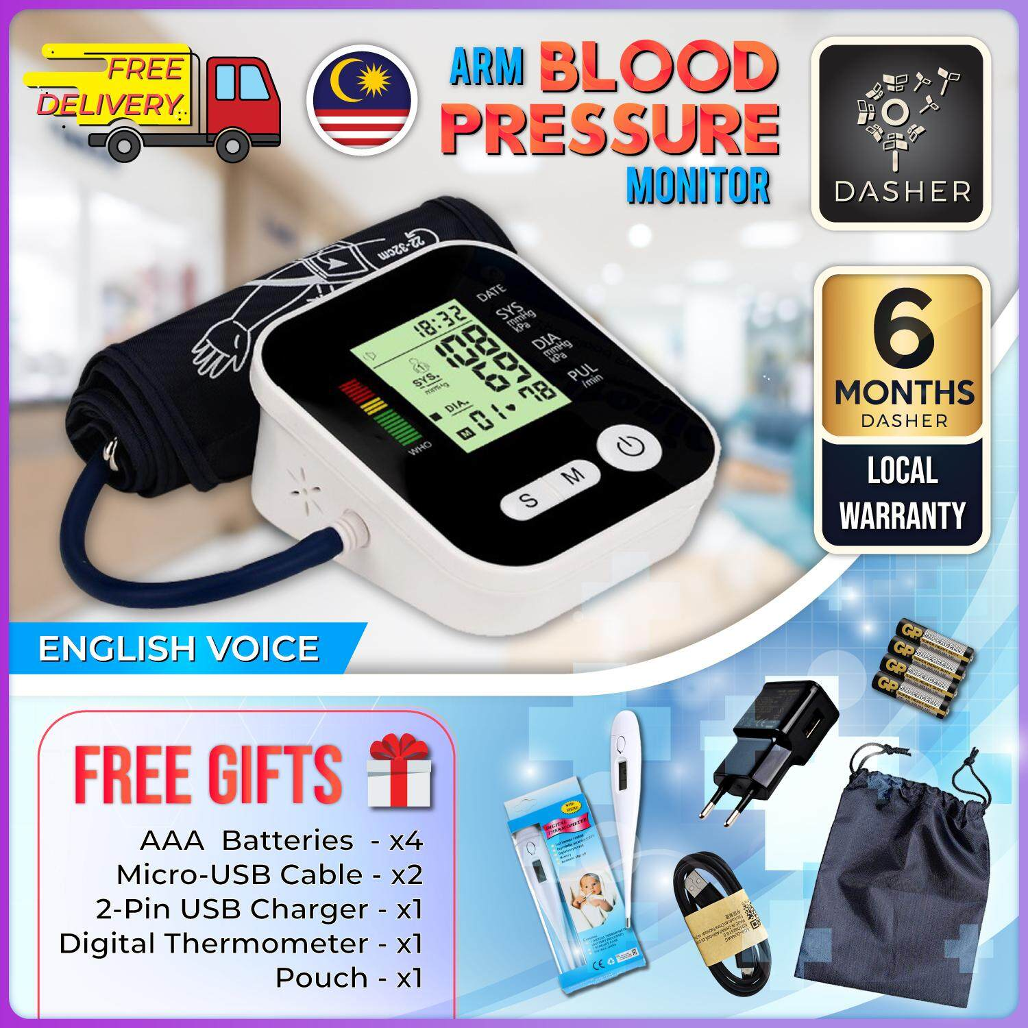 Blood Pressure Monitor Automatic Heart Rate Tracker 5in1 USB Powered High