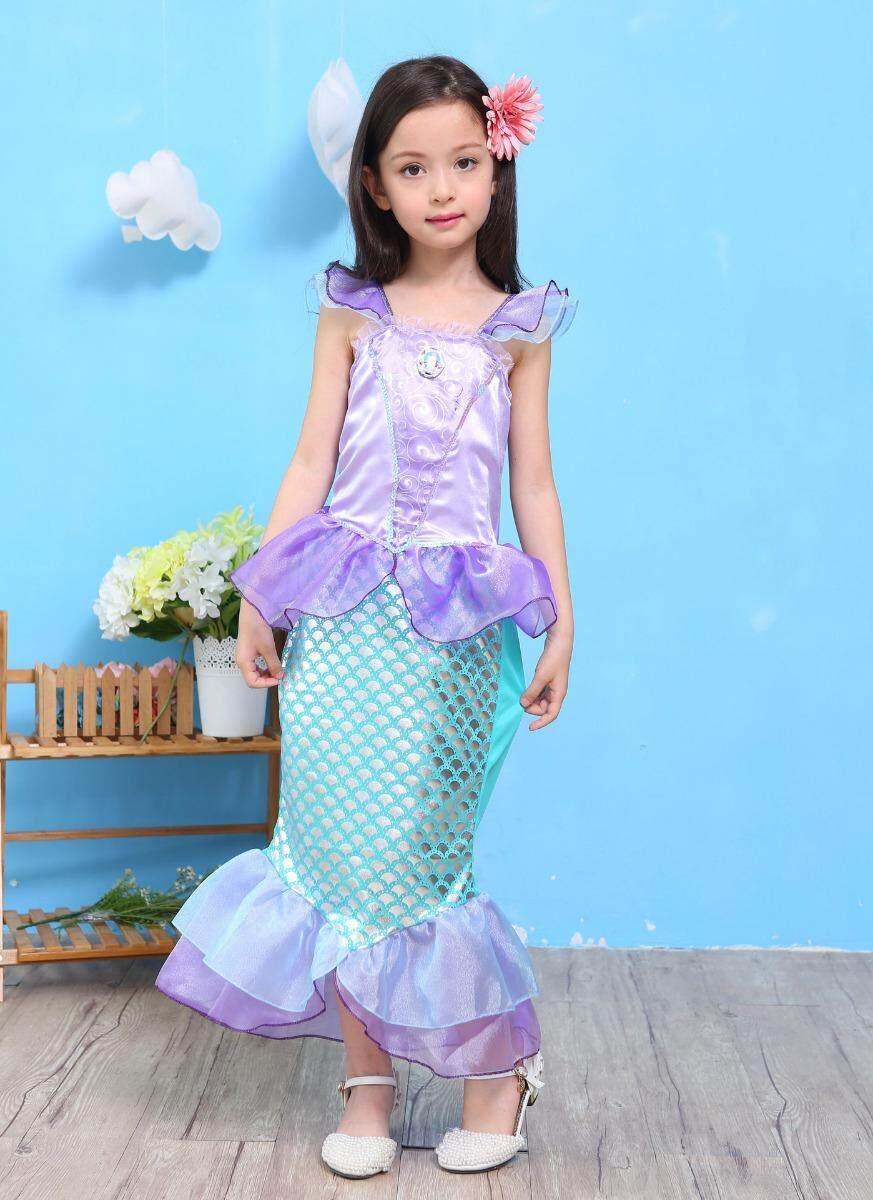 Kids Ariel Little Mermaid Set Girl Princess Fancy Dress Party Cosplay Costume