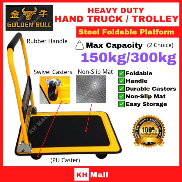 Golden Bull Steel Platform Trolley 150kg//300kg Heavy Duty Hand Truck 4 Wheel Trolley Orange | Foldable Platform Hand Truck Trolley PUCaster (Yellow & Black)