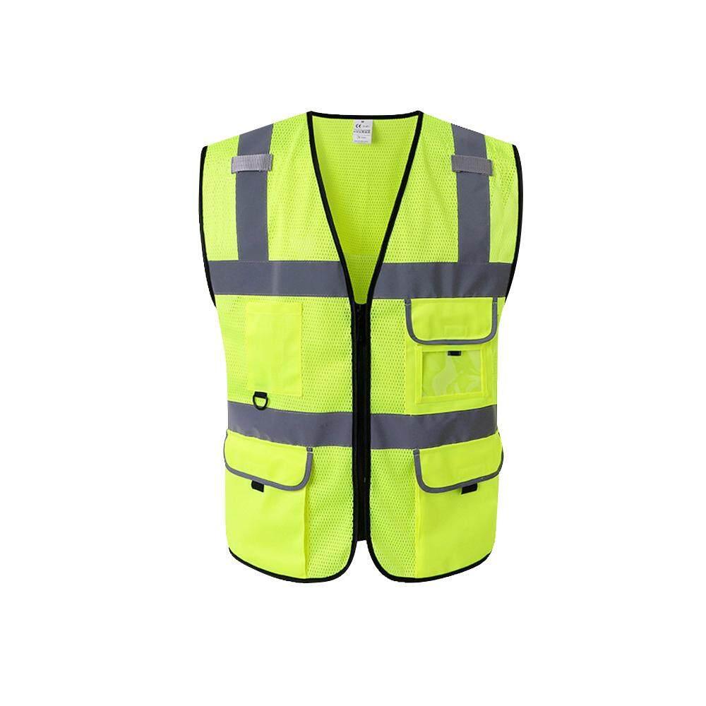 High Visibility Reflective Safety Vest Reflective Vest Multi Pockets Workwear Safety Waistcoat