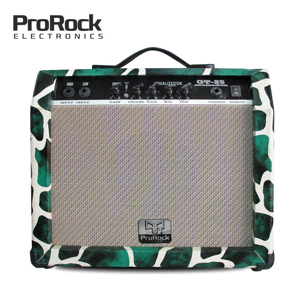 Prorock 25 Watt 2 Inputs Electric Guitar Amplifier With Equalizer And Gain Overdrive Effect Amp (green) By Pbh Estore.