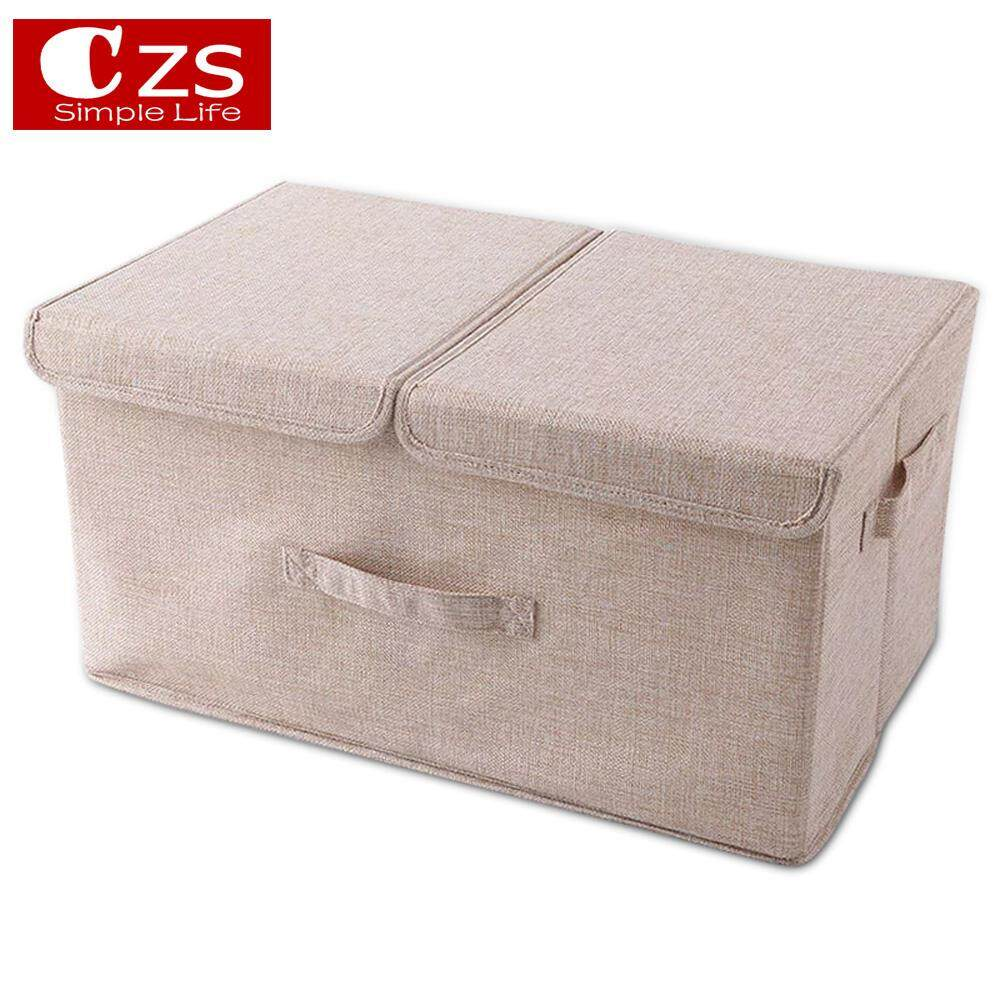CZS Multifunction Large Storage Boxes With Lids,cotton Fabric Collapsible Storage Box ,storage Bins Baskets For Clothes Toys Dvds Art And Books, Cds,washing Laundry Organization Or More