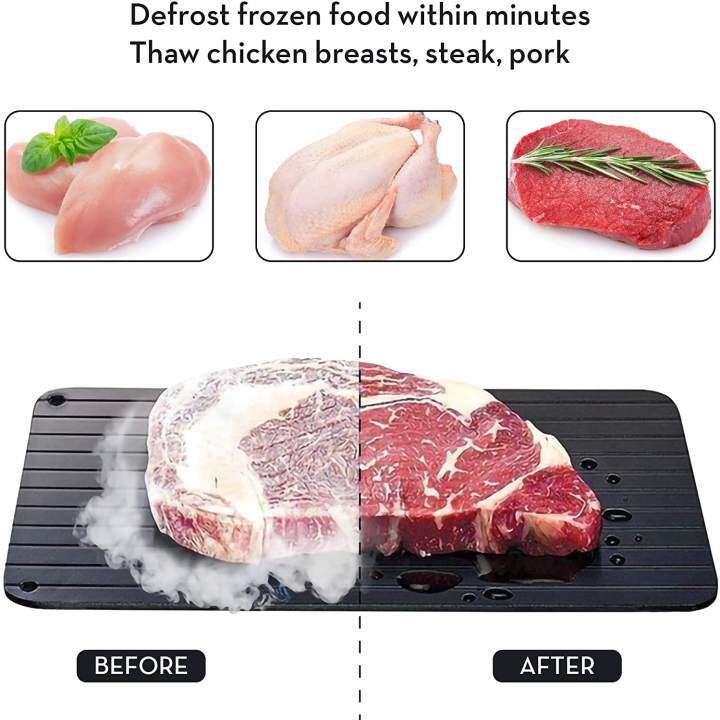 Fast Defrosting Tray , The Safest WFast Defrosting Tray , Home Necessary ,  The Safest Way to Defrost Meat or Frozen Food Quickly Without Electricity  (Black) , Kitchen tools , Kitchen tools / Scroll Through | Lazada