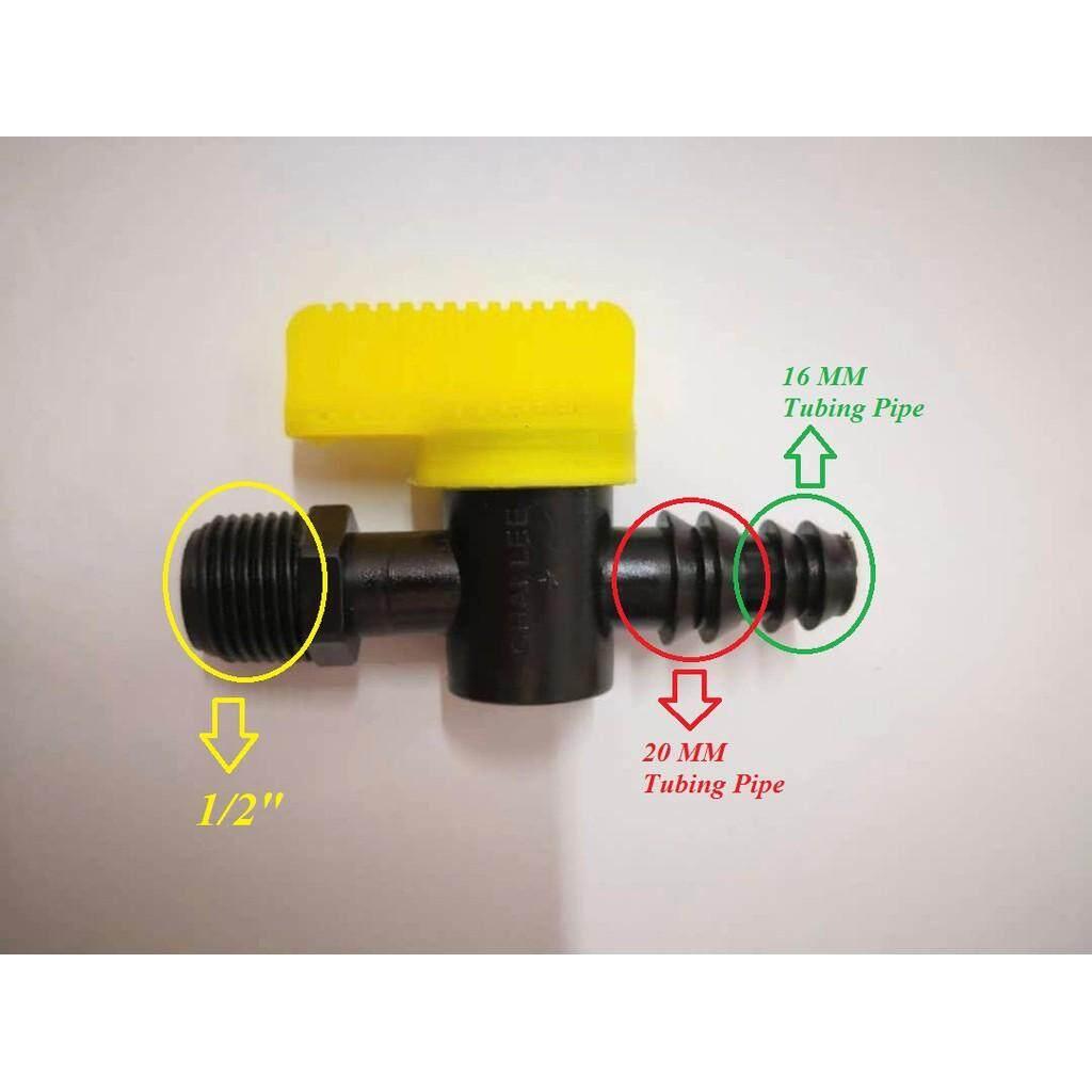 16mm/20mm X 1/2 Quick Action Valve Male Thread Irrigation Hydroponic Fertigasi