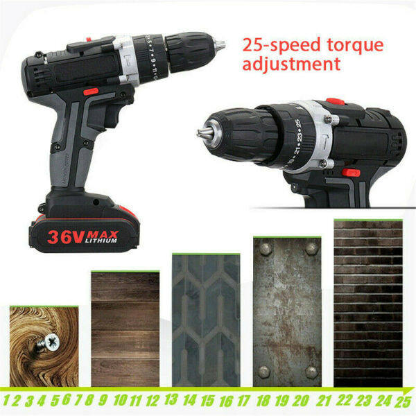 36V Electric Brushless Cordless Hammer Impact Wrench Drill 2 Speed 25 Torque Tools with Li-ion-Battery and Charger