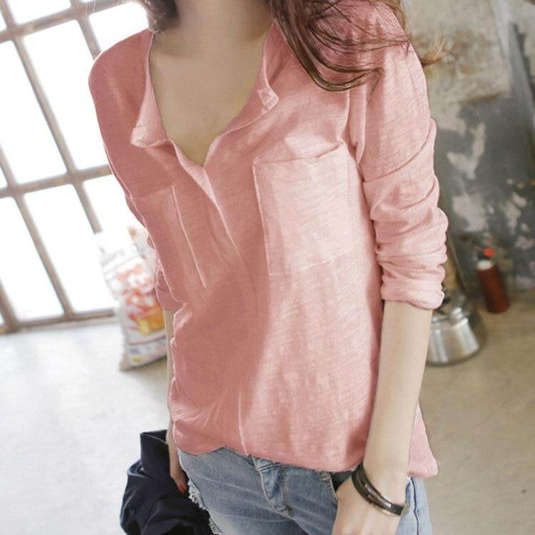 bc1a29132dfb9 Autumn Women T-shirt 2019 Fashion Pocket Cotton Top Tee Casual V-Neck Long