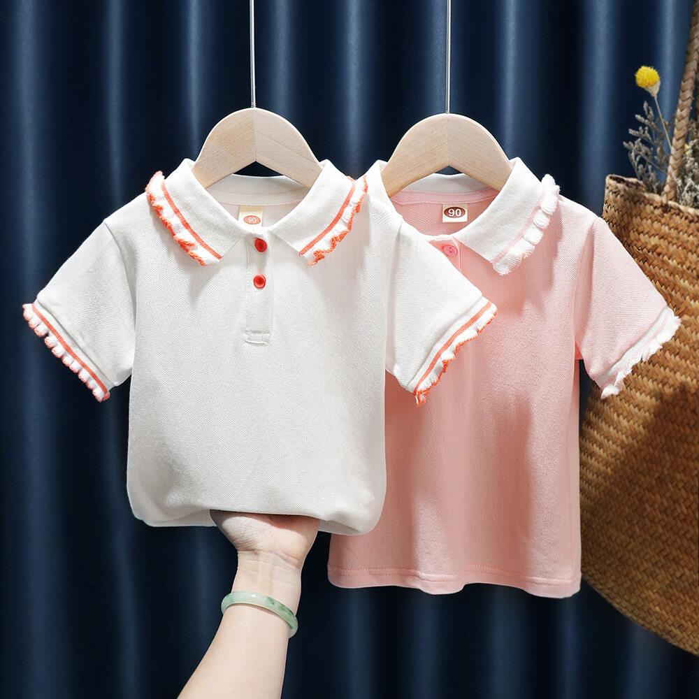 Áo Thun Polo Thường Ngày Cho Bé Gái 1-3-6 Tuổi, Áo Ngắn Tay Thời Trang