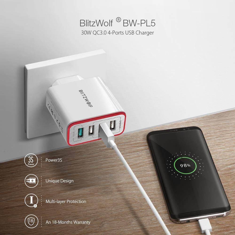 Blitz Wolf BW-PL5 30 W QC3.0 Pengisian Cepat 2.4A 4-Port Charger USB EU Adaptor Colokan dengan Spower untuk Huawei P20 Mate20 pro Xiaomi MI9 S10