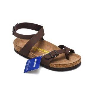 Birkenstocks Set Foot Cork Sandal Đàn Ông Phụ Nữ Cross Jandal Giày Dép Bãi Biển Giản Dị Nubuck Brown thumbnail