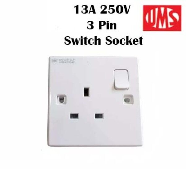 UMS 13A 250V 3PIN Switch Switched Socket Outlet Plug SIRIM Good Quality SP2913A