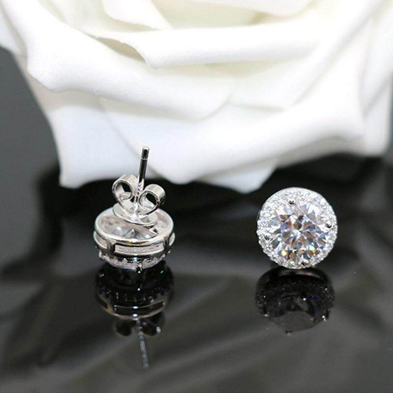 White Gold Round Cut White Topaz Diamond Stud Earrings Wedding Party Jewelry