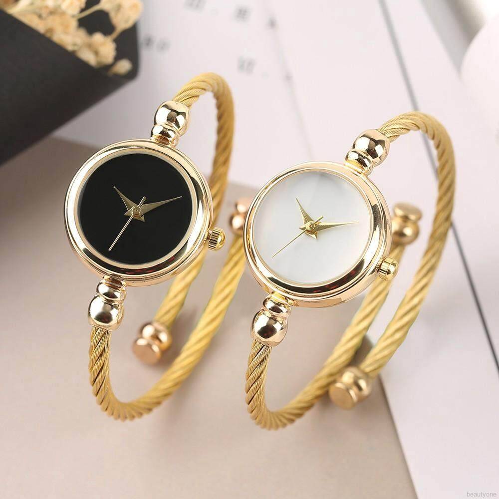 Women Golden Watch Wire Bracelet Charm Quartz Wristwatch Malaysia