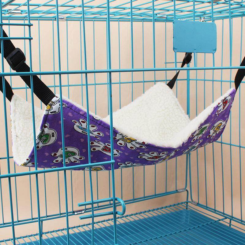 All Seasons Pet Cat Hammock Cats Beds Large Printing Single-sided Granular Fleece Hammock Can Be Hung on Animal Cage