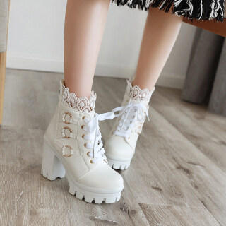 Women Chunky Lace Up Boots Platform High Heel Ankle Boots thumbnail