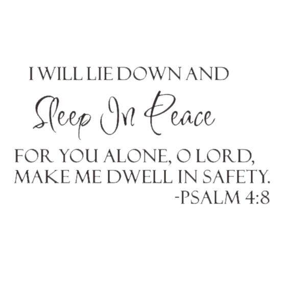 Sleep In Peace Psalm 48 Bible Verse Lettering Wall Decal Decor Quote Inspire