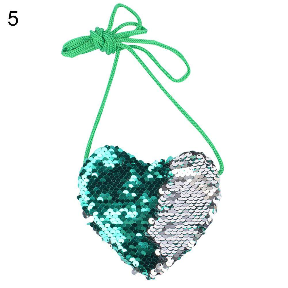 Wistic Kids Girl Dual Color Sequins Heart Shape Shoulder Bag Coin Purse Small Handbag By Baby Caring.