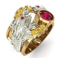 Nhẫn kim cương giả mặt pha lê màu đỏ cho nam và nữ nhẫn đính đá hai màu vàng kim khắc hình cá chép thiết kế tinh tế phong cách đem lại may mắn – INTL