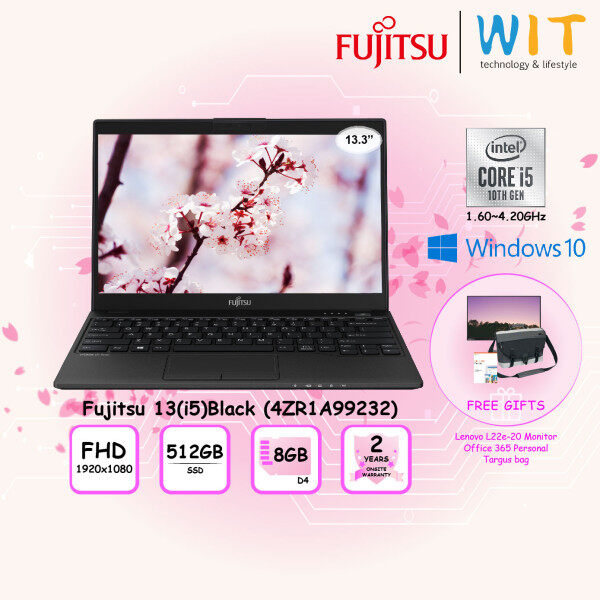 Fujitsu Laptop 13(i5)Black (4ZR1A99232)/Intel Core i5-10210U 1.60~4.20Ghz/8GB D4/512GB SSD/13.3 FHD/Intel Share Malaysia