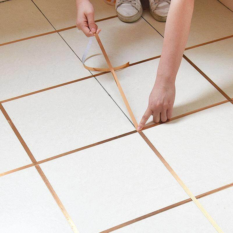 50M Self Adhesive Tile Sticker Waterproof Wall Gap Sealing Tape Strip Floor Tile Beauty Seam Sticker Home decoration Decals(Gold/Silver/Black)