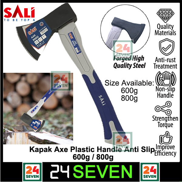 Heavy Duty SALI Kapak_Axe Plastic Handle Anti Slip 600g Or 800g / For Splitting Kindling and Chopping Branches, with Strong