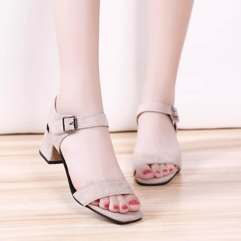 Women Plus Size Korean Trendy Fashion Suede Plain Sandals Casual By Nono Plus Size.