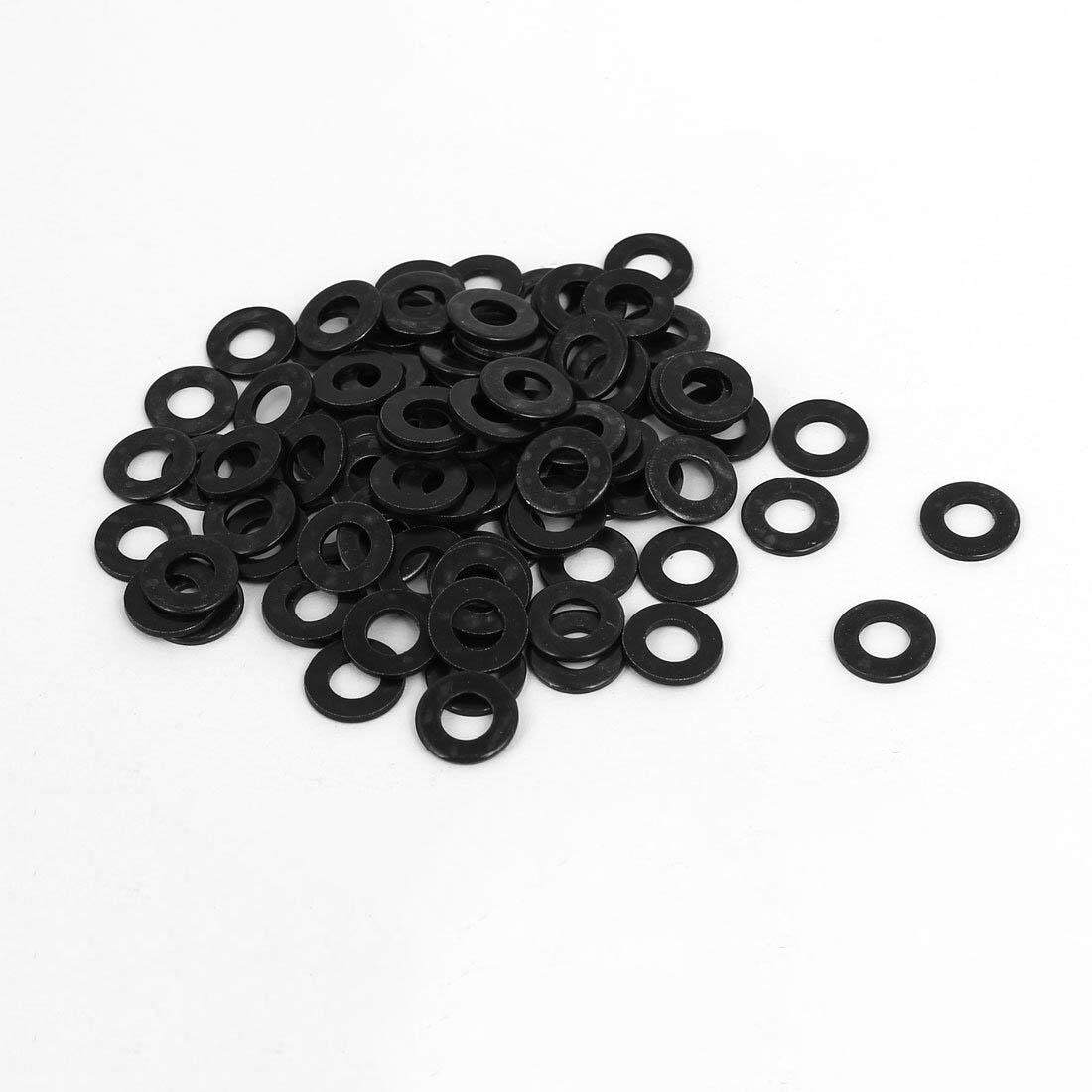 M5 x 10mm x 1mm Black Nylon Flat Washers Gaskets Spacers 100PCS