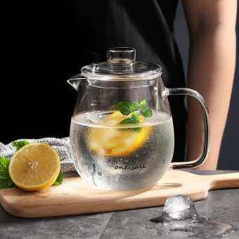 ONE IS ALL แก้วกาน้ำชาพร้อมฝาปิดและที่กรองชา, น้ำชาเย็นเย็น/ร้อน Carafe Hand Made เหยือกเหยือกน้ำ, ดอกไม้ใบชาผงในภาชนะปิดสนิทกาต้มน้ำ Infuser (600 ml 420g)-