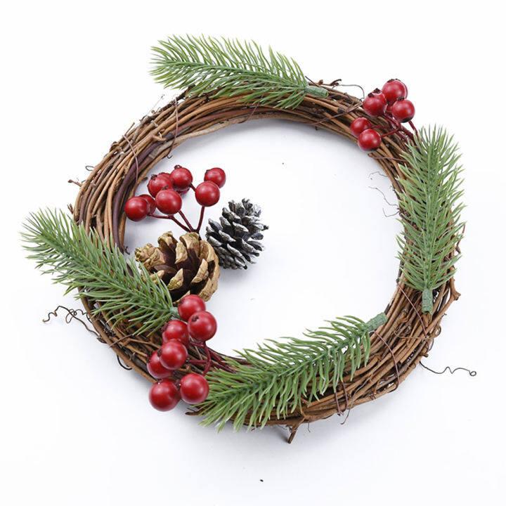 Favor Artificial Vine Ring Xmas Hanging Garland Christmas Wreath Rattan Wicker