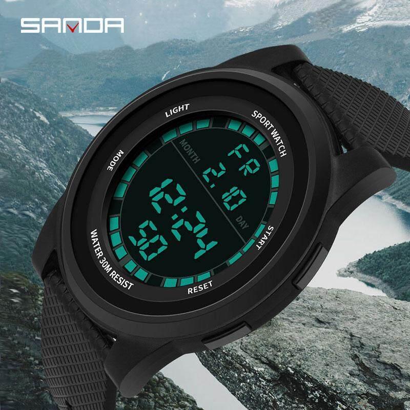 Mới thời trang SANDA siêu mỏng đồng hồ kỹ thuật số chống thấm nước 3ATM nam cực chất quân sự đồng hồ thể thao Đồng Hồ Relogio Masculino. Nam Tặng bán chạy